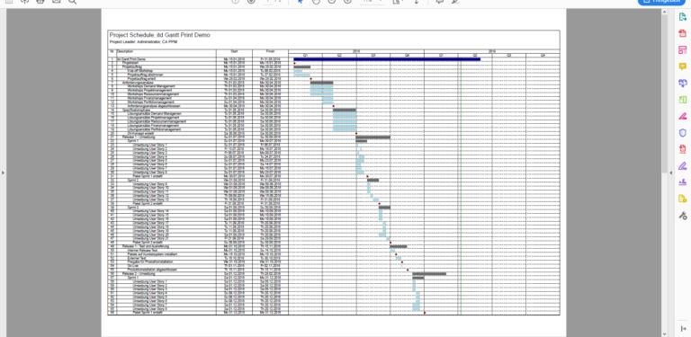 View your Gantt chart in Adobe Reader