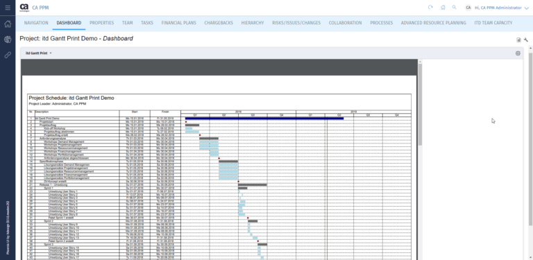 Print your project plan easily and directly from Clarity PPM