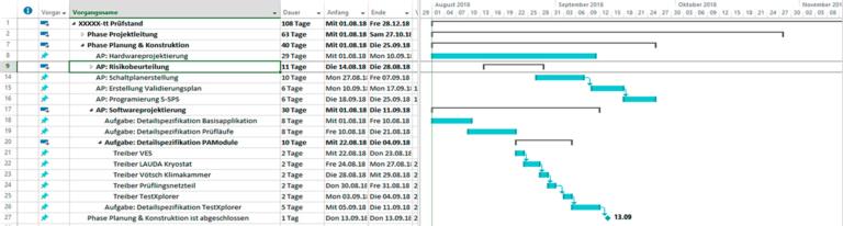 Projektplan für MSP-Export in Clarity PPM