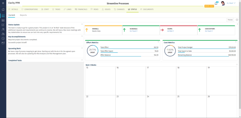 Clarity PPM: Status overview of individual projects