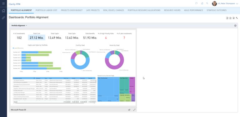 Clarity PPM: Portfolio alignment report