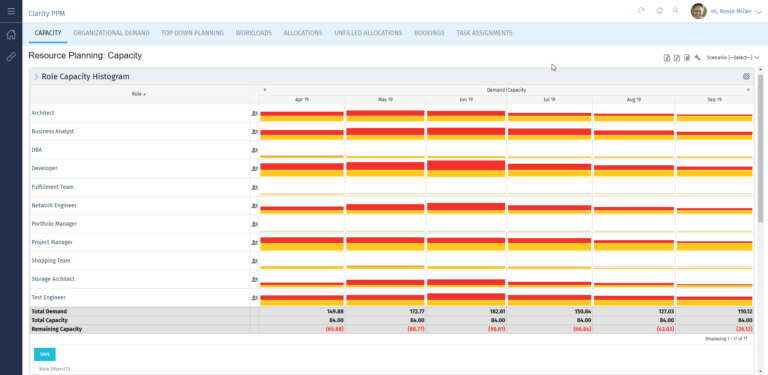 Clarity PPM: Visualization of capacities for resource planning