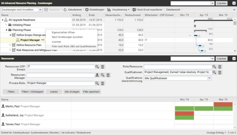 itd Advanced Resource Planning 7.3.1 - Schnellfilter auf Rollen