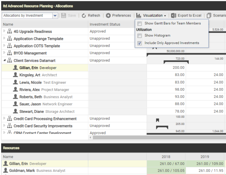 itd Advanced Resource Planning 7.2 - Include Only Approved Investments