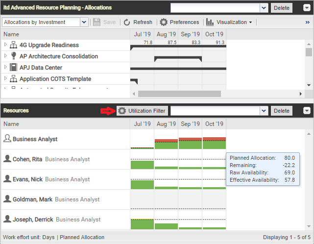 itd Advanced Resource Planning 7.5.0: With utilization filter