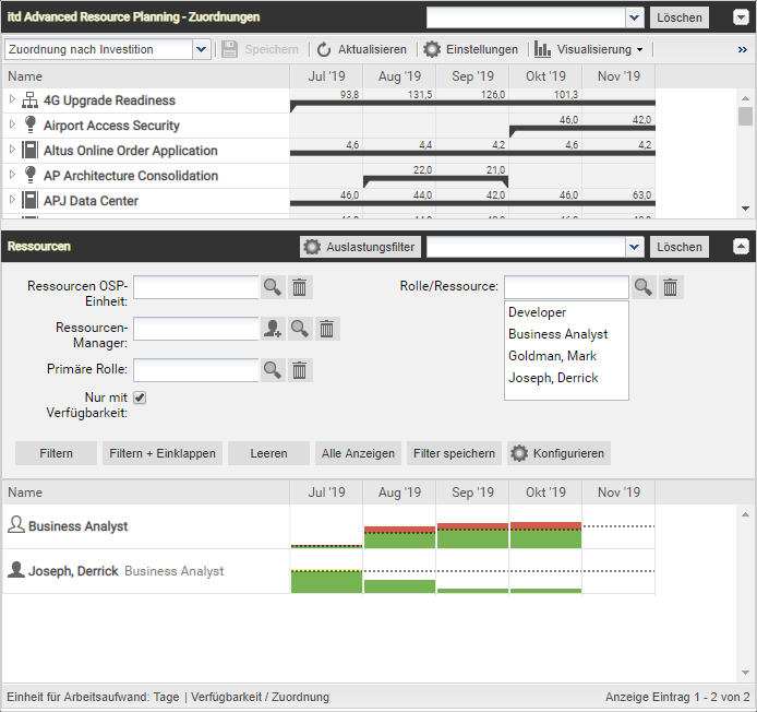 itd Advanced Resource Planning 7.6.0 Nur mit Verfügbarkeit