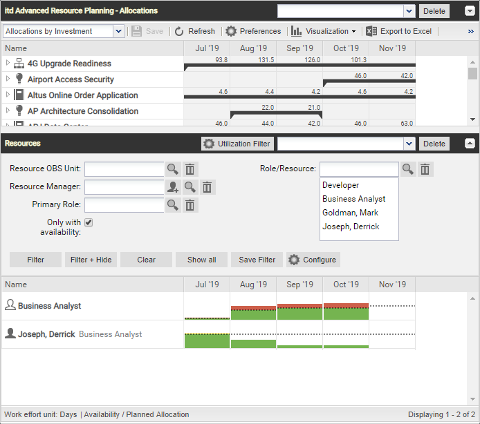 itd Advanced Resource Planning 7.6.0: Only with availability