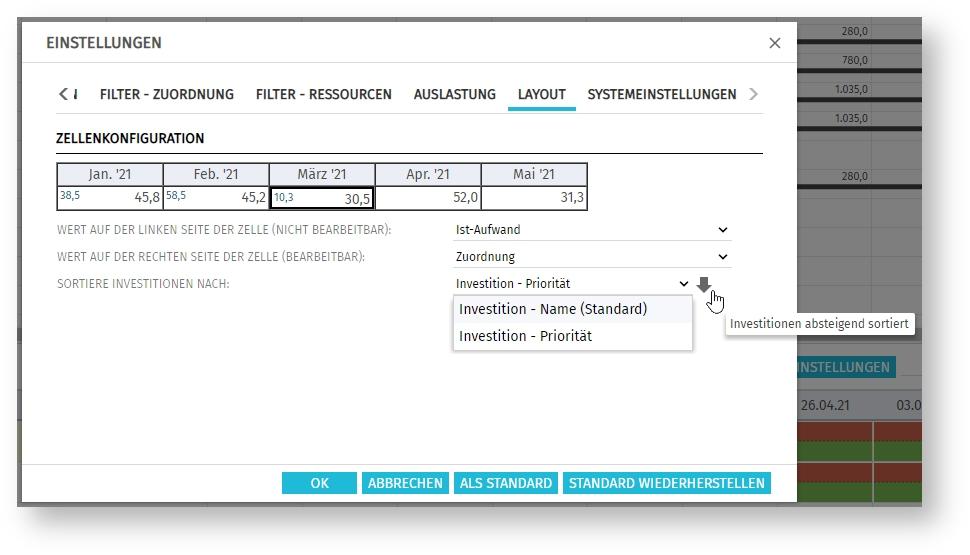 itd Advanced Resource Planning 8.2.0 | Sortierung in Layout