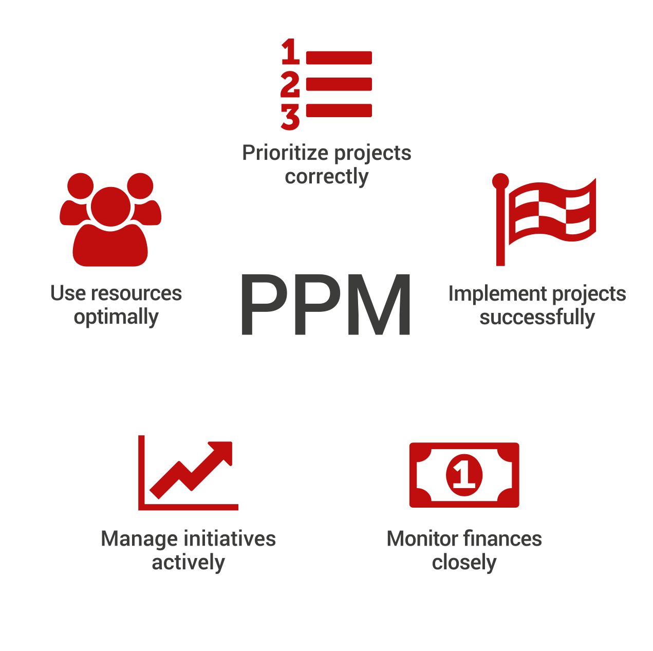 Elements of PPM: Prioritize projects correctly, implement projects, successfully, monitor finances closely, manage initiatives actively, use resources optimally