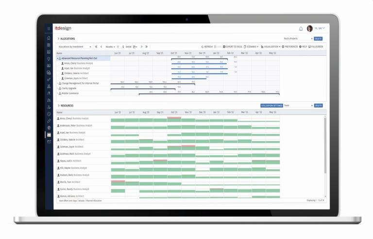 itd Advanced Resource Planning 8.4.0: Neue Farben im Einklang mit der Clarity Modern UX